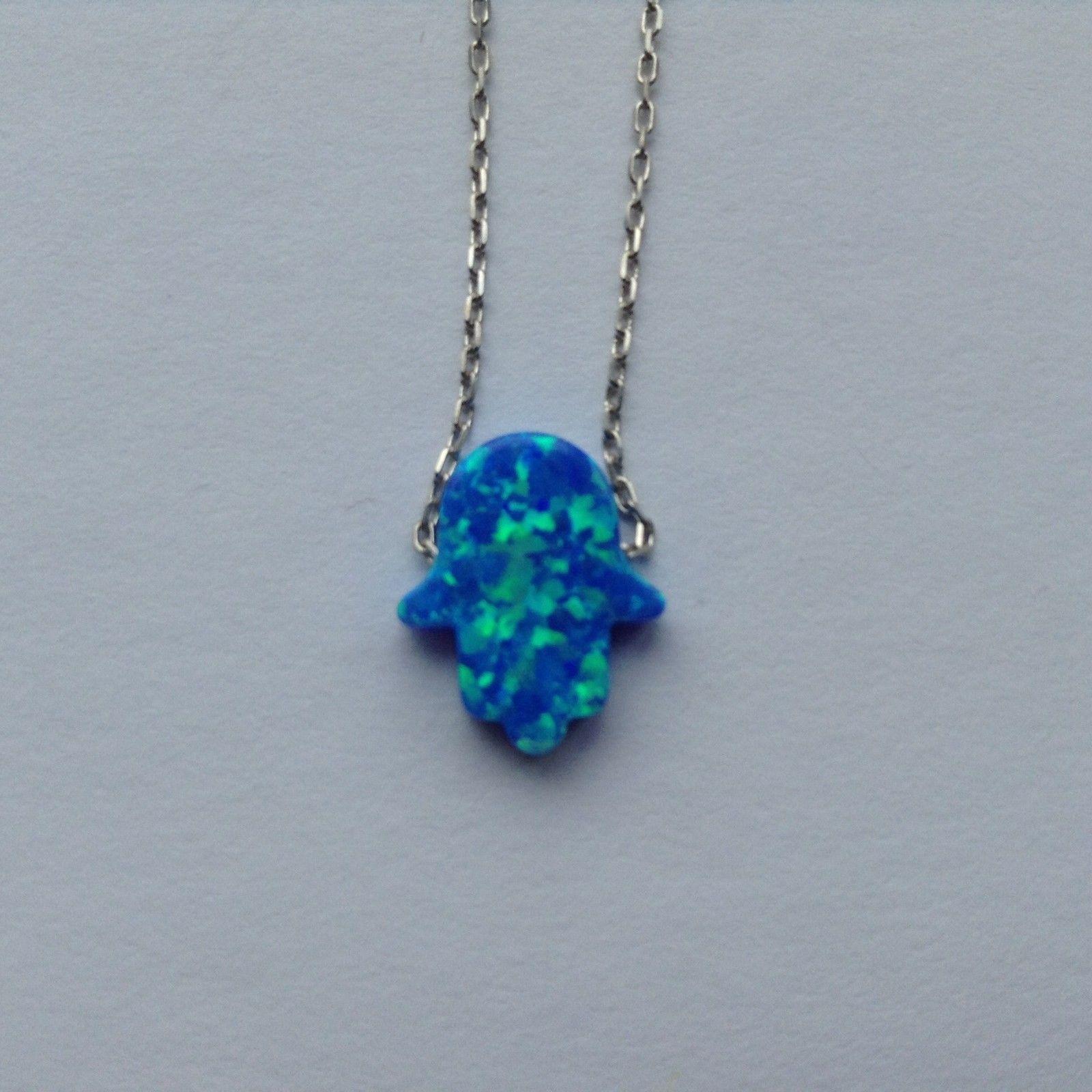 Hamsa Fatima Hand Sterling Silver Blue Opal Stone Necklace