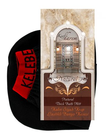keyfi harem elasticated thick krep black kese exfoliating glove